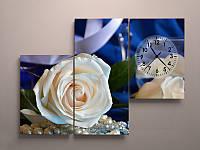 Настенные часы на холсте Белые розы