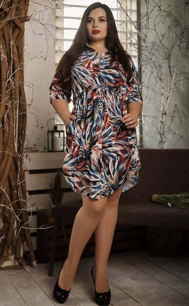 Платье- рубашка летнее большой размер листья синие