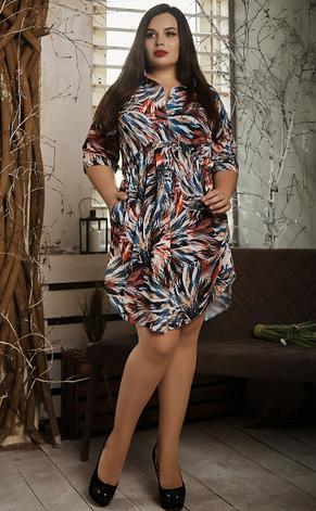 Платье- рубашка летнее большой размер листья синие, фото 2