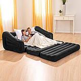 ✅Надувной диван Intex 68566, 221 х 193 х 66 см. Флокированный диван трансформер 2 в 1, фото 2