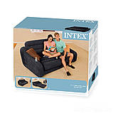 ✅Надувной диван Intex 68566, 221 х 193 х 66 см. Флокированный диван трансформер 2 в 1, фото 5