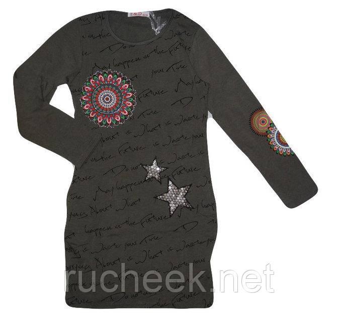 Платье трикотажное для девочки туника р 146-152, ТМ F&D 3609