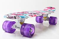 """Скейт Пенни борд Penny Board Ultra Led 22"""" Стрит - Flowers 54 см"""