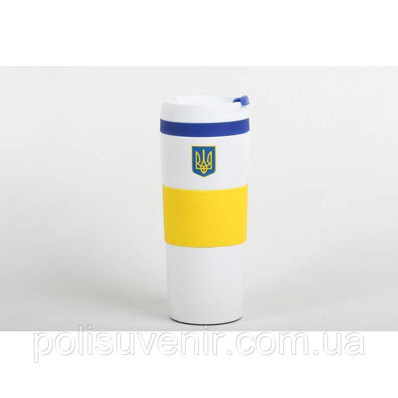 Термокружка Bravo, вакуумна, сталева, 400 мл з українською символікою
