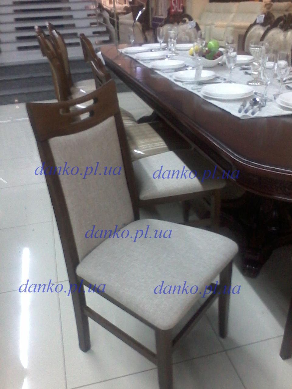 Деревянный стул Юля темный орех (мягкая спинка) с тканевой оббивкой