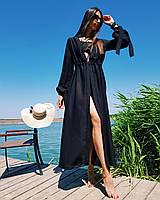Длинная шифоновая черная туника, платье пляжное, парео, накидка на купальник