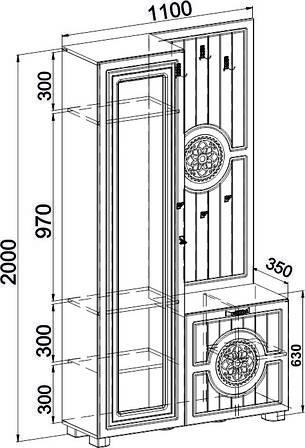 Шкаф комбинированныйМонблан МБ-10(венге светлый), фото 2