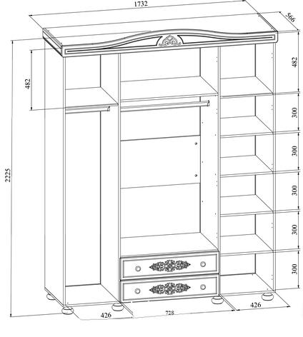 Шкаф четырехстворчатый Белль АС-28 (Белый), фото 2