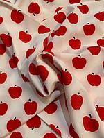 Ткань одежная супер-софт с яблочками