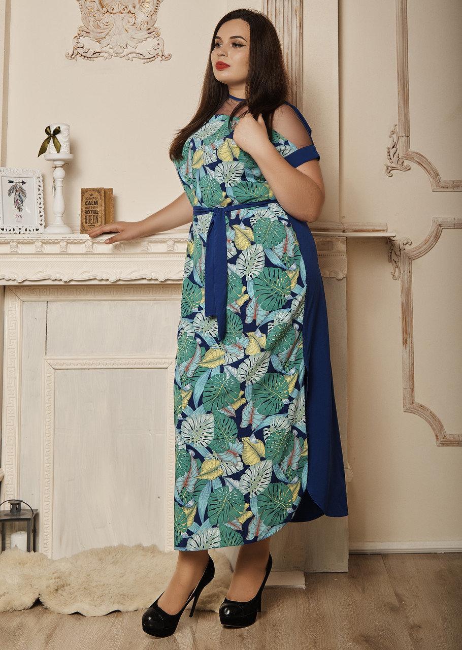 """Летнее платье в пол """"Ирма"""" размеры 50,52,54,56 болшие листья с электриком"""
