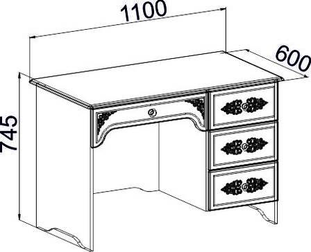 Стол письменный Ассоль Премиум АС-06 (кремовый) (правый или левый), фото 2