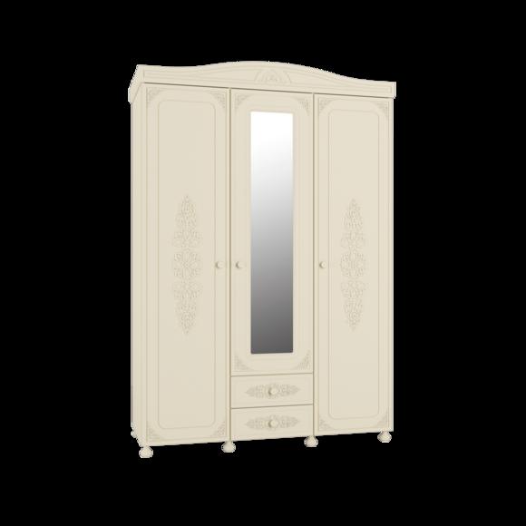 Шкаф трёхстворчатый Ассоль Премиум АС-27 (с зеркалом) (кремовый)