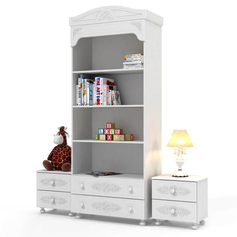 Комплект мебели для детской Ассоль (компоновка 8) (Белый)