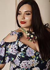 """Легкое платье в пол """"Гайтана"""" размеры 50 сиреневые цветы, фото 2"""