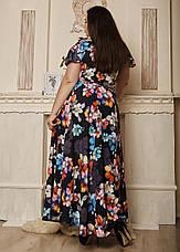 """Легкое платье в пол """"Гайтана"""" размеры 50 сиреневые цветы, фото 3"""