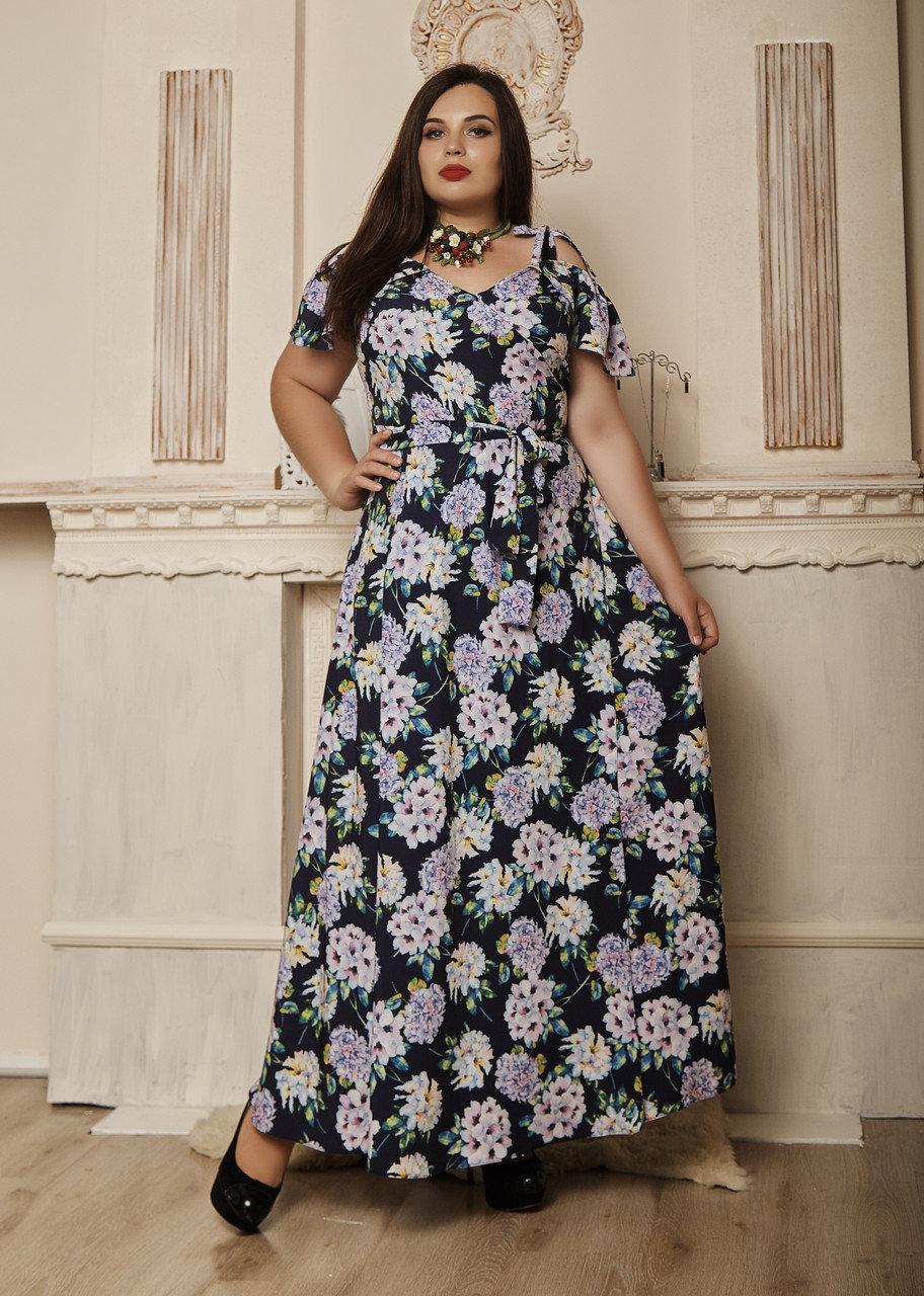 """Легкое платье в пол """"Гайтана"""" размеры 50 сиреневые цветы"""