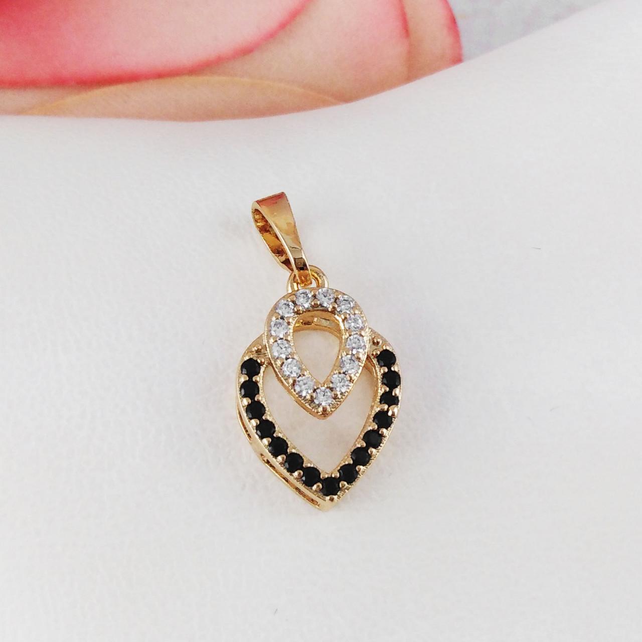 """Подвеска кулон Xuping Jewelry """"Двойная капелька"""" медицинское золото, позолота 18К. А/В 3310"""