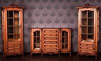 """Комплект мебели в гостиную из натурального дерева """"Регина"""", в классическом стиле, сервант, тумбы, шкаф, комод"""