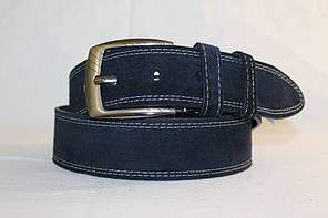 Замшевий ремінь 45 мм  синій з  білою  ниткою