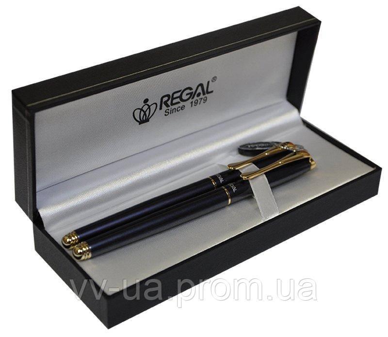 Комплект ручек Regal (перо+роллер) в подарочном футляре L, жемчужно-черный (R12216.L.RF)