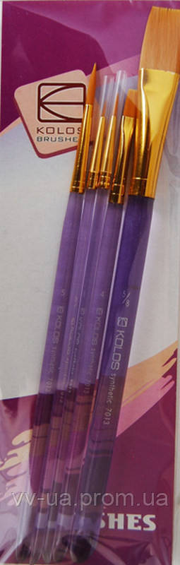 Набор кистей KOLOS 7013, синтетика круг/плос, 5 шт (42701323)