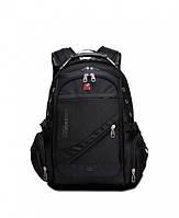 """Универсальный городской рюкзак Swissgear Men Bag 8810 39 л 17"""" + USB + дождевик Черный (in-75)"""