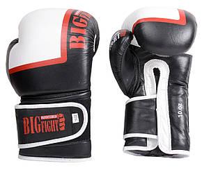 Боксерские перчатки черно-белые BigFight 12ун кожа