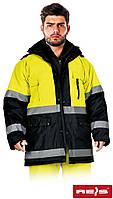 Зимняя куртка с светоотражающими полосками REIS BLUE-YELLOW-J