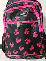 Рюкзак ортопедичний, чорний з рож. бантиками, М, 42*29*15 см, Leader 982074