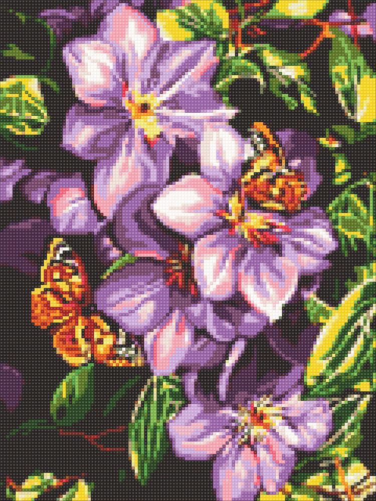 Алмазная техника Бабочки на цветах DM-311 (30 х 40 см) ТМ Алмазная мозаика