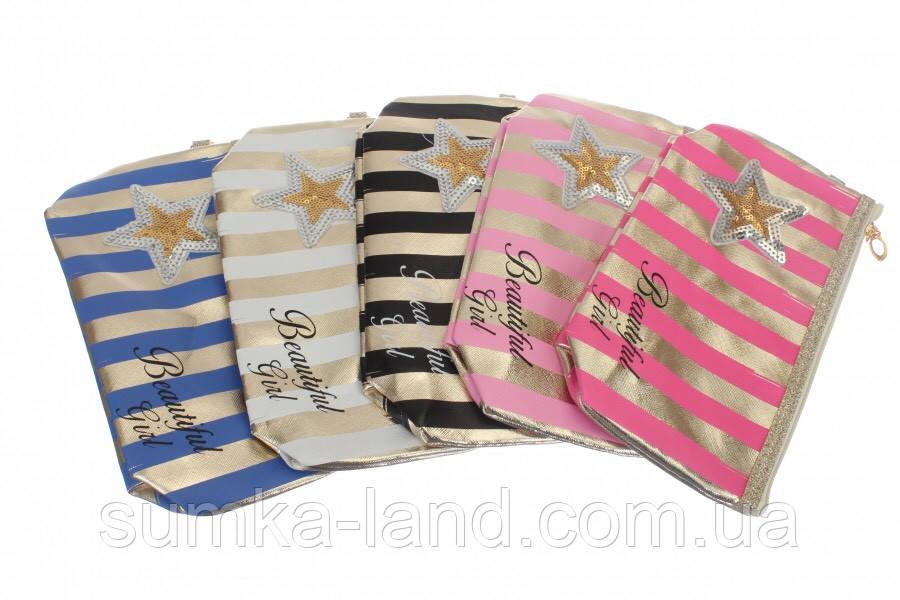 Женские текстильные прямоугольные косметички на 1 змейке в ассортименте (звезда)