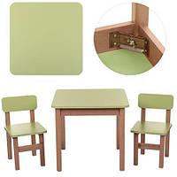 """*Набор мебели - стол и 2 стульчик дитячий стілецьа """"Эко"""" Украина САЛАТОВЫЙ арт. 091"""
