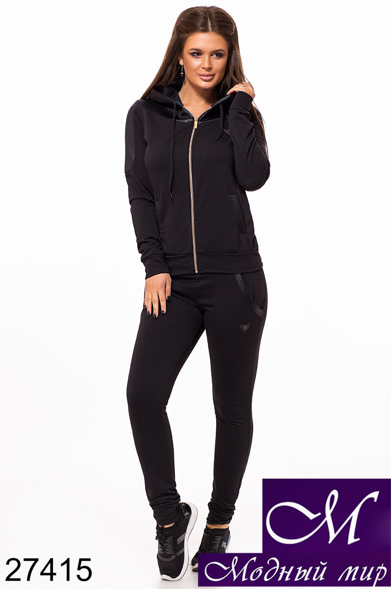 Стильный черный спортивный костюм женский (р. S, M, L) арт. 27415