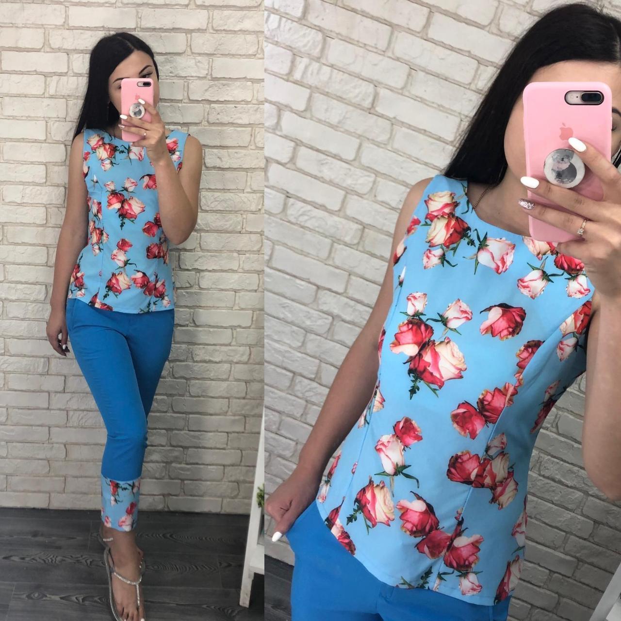 "Шикарный костюм двойка блуза и брючки ткань ""Софт"" размер 44, 46, 52  размер норма"