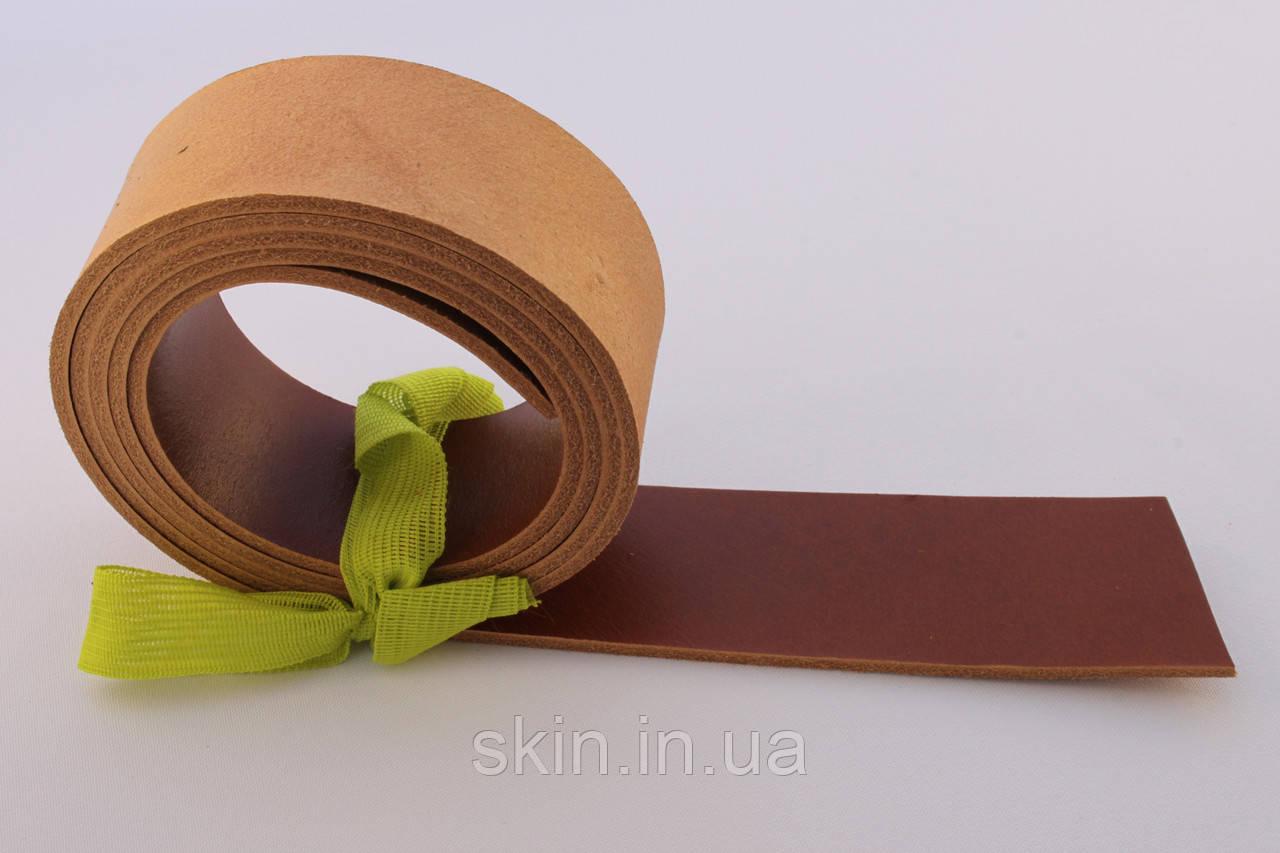 Полосы из кожи растительного дубления с покрытием для ремней рыжего цвета, толщина 3.0 мм, арт. СК 1690