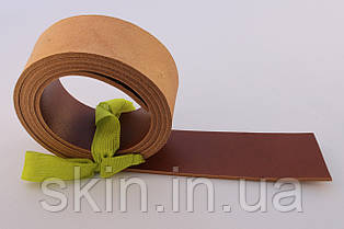 Полосы из кожи растительного дубления с покрытием для ремней рыжего цвета, толщина 3.0 мм, арт. СКУ 9002.1690