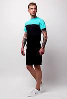 Футболка трехцветная мужская летняя стильная модная, цвет черный-графит-бирюза