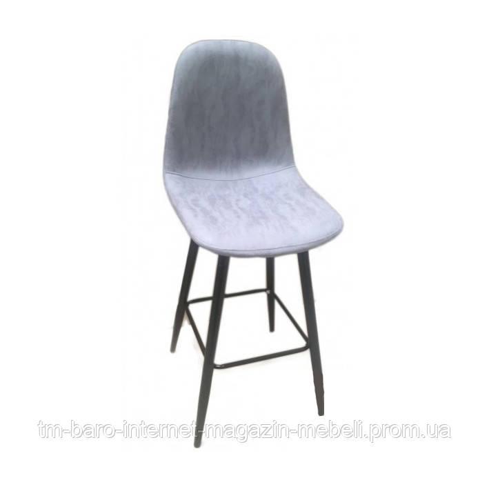 Барный стул Нубук Н, светло-серая экокожа