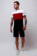 Футболка трехцветная мужская летняя стильная модная, цвет черный-красный-белый