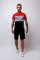 Футболка трехцветная мужская летняя стильная модная, цвет черный-серый-красный