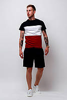 Футболка трехцветная мужская летняя стильная модная, цвет красный-белый-черный