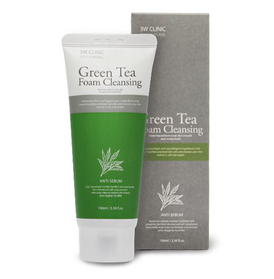 Очищающая пенка с зеленым чаем 3W Clinic Green Tea Foam Cleansing