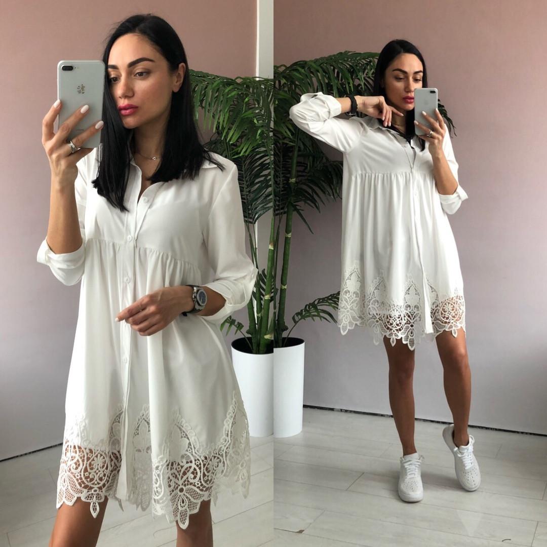 Платье туника oversize белого цвета с кружевом