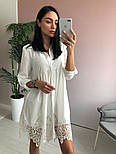 Платье туника oversize белого цвета с кружевом, фото 4