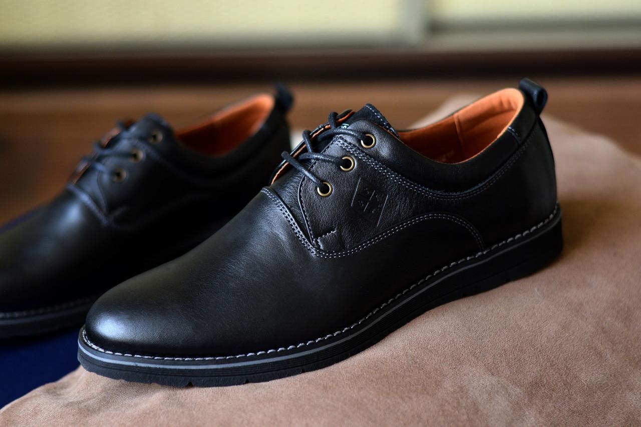 Мужские туфли Bastion черные, из натуральной кожи