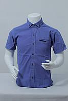 Рубашка подростковая для мальчиков в мелкую точку12-16лет темно-голубого цвета
