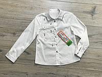 Катоновая блузка с жемчугами. 122- 140 рост.