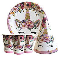 """Набор для детского дня рождения """"Единорог цветочный"""". Тарелки, стаканчики, колпачки по 10 шт."""