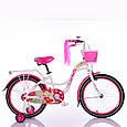 Испанский Детский Велосипед для девочки с плетеной корзинкой и багажником для куклы INFANTA-20 White от 8 лет, фото 2