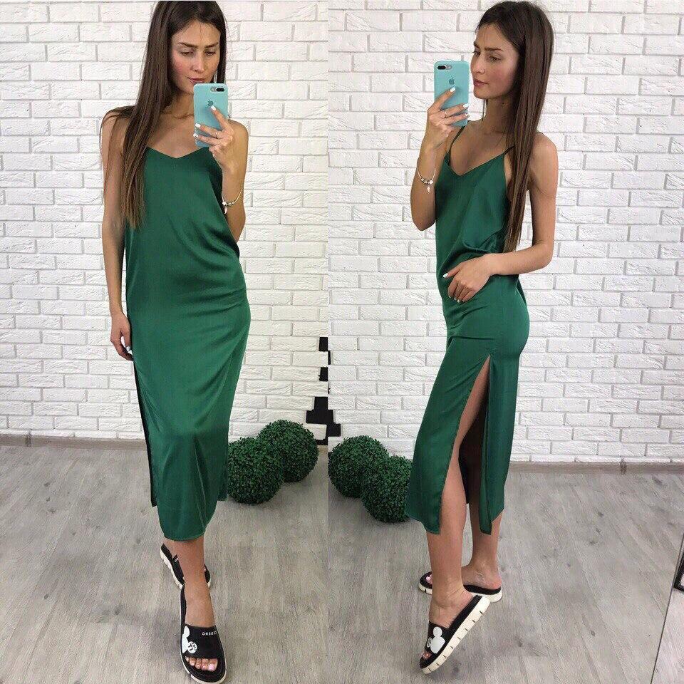 Женское летнее шелковое платье Лолита на брительках зеленого цвета